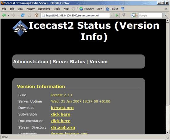 Tampilan Icecast 3 Membuat Radio Streaming Dengan Hosting Sendiri