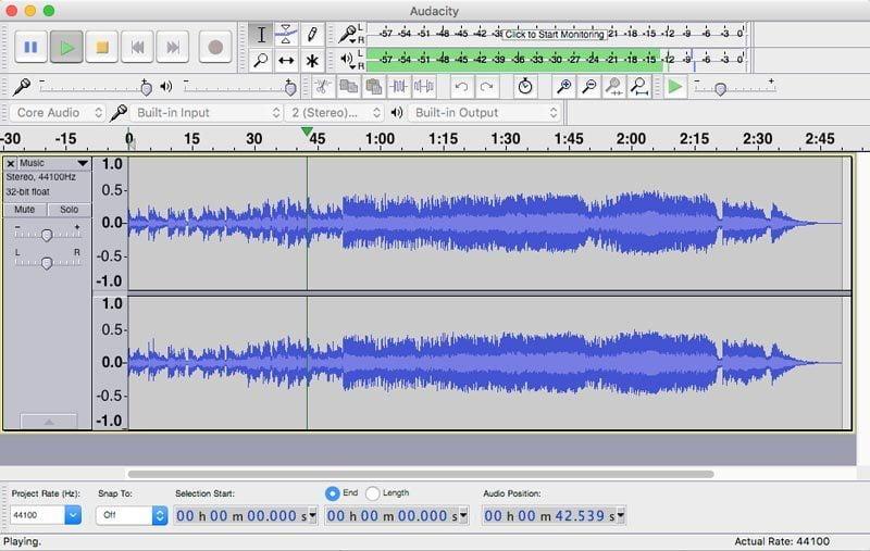 program perekam suara Audacity di Mac OS X
